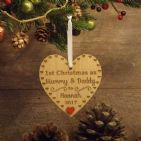 1st First Christmas as Mummy & Daddy Personalised Heart Decoration Gift